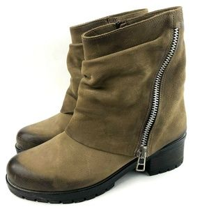 Anthropologie Leather Fold Over Distressed Booties